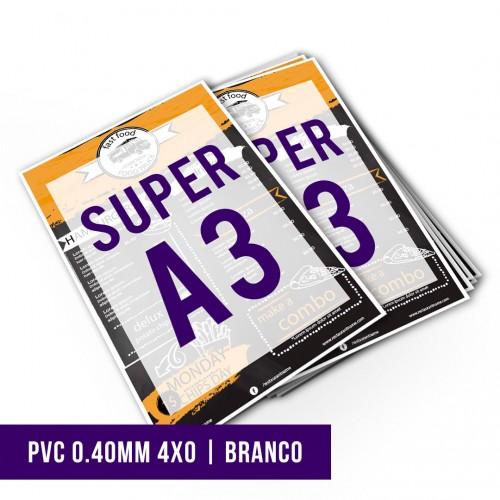 Impressão Digital PVC 0.40mm Branco SA3 | 4x0